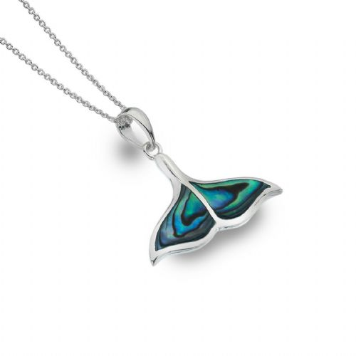 Paua Shell Whales Tail Pendant Sterling Silver 925 Real Stone All Chain Lengths